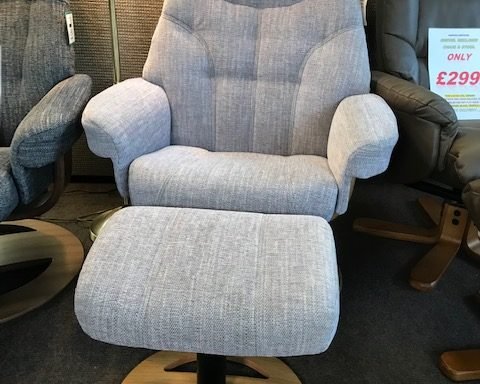 Ex-Display – Sitbest Ruby Swivel Recliner and footstool